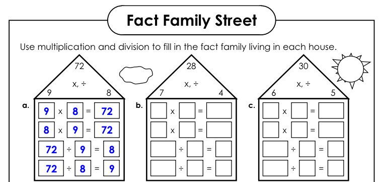 Worksheet #12241584: Fact Families Worksheets Multiplication and ...